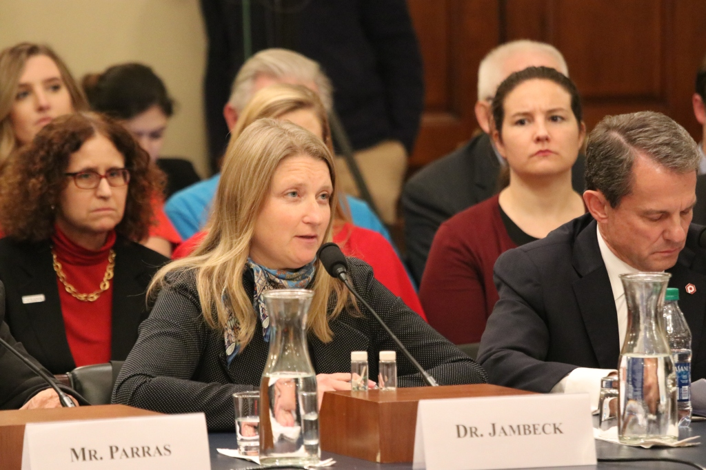 Dr. Jenna Jambeck, Tau Beta Pi Member, testifying before the U.S. House of Representatives Subcommittee in October 2019.